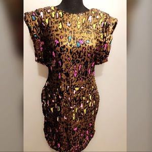 Leopard mini sequin dress